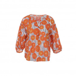 Chemisier parasol manches 3/4 orange