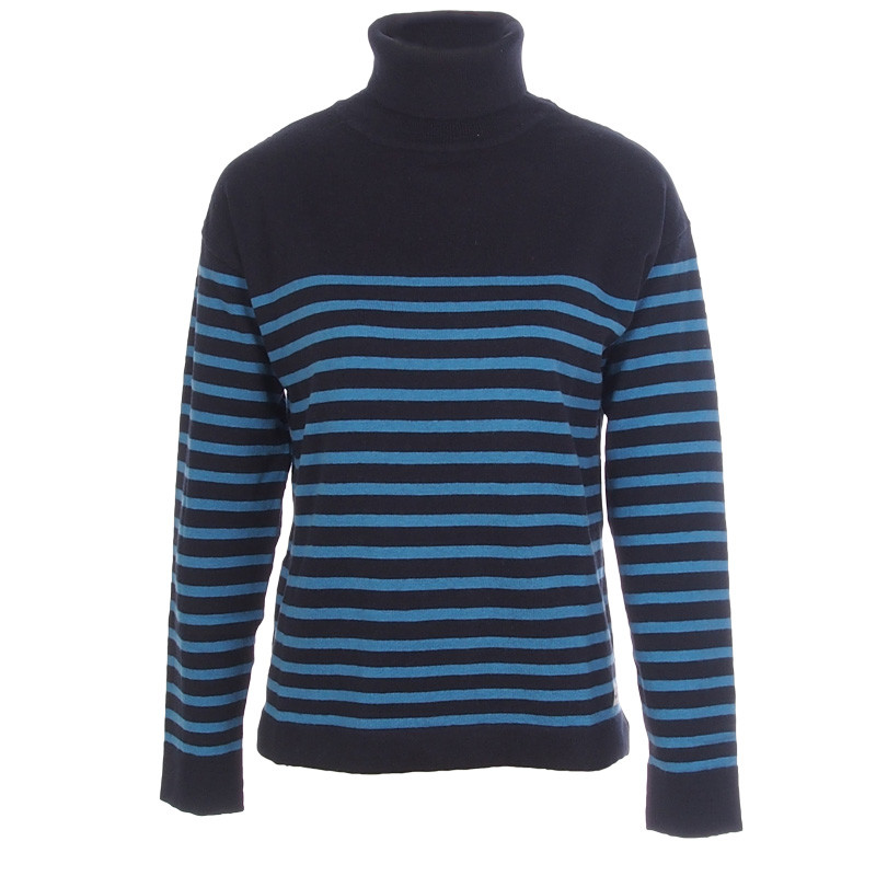 PULL COL ROUL%EF%BF%BD PURE LAINE BLEU MARINE Pull col