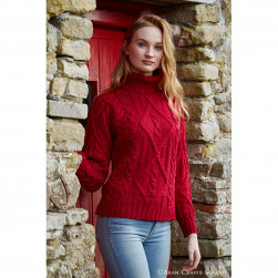 Pull traditionnel irlandais col roulé rouge